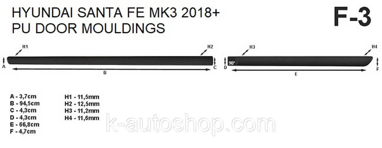 Молдинги на двері для Hyundai Santa Fe Mk4 2018+, фото 6