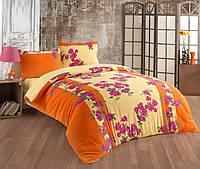 Махровое постельное бельё двухстороннее Оранжевый Сад Двуспальное евро с простыней на резинке Сине - голубое