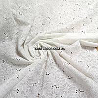 Ткань батист с вышивкой (прошва) цветы, молочный