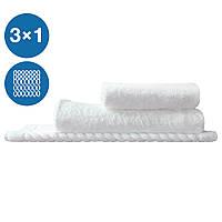 Набор махровых полотенец для отеля 3шт плотность 430г/м2 100% хлопок петлевые Туркменистан Eco белый