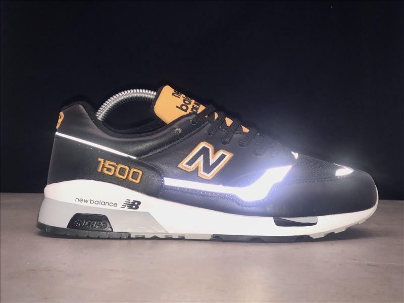 Мужские кроссовки New Balance 1500 Black Yellow Leather. Модные мужские кроссовки.