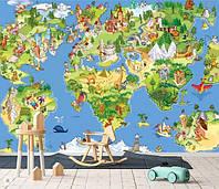 Фотообои забавная детская карта мира