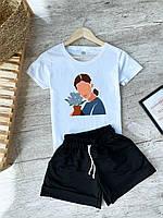 Белая футболка женская с принтом + шорты черного цвета. Женский летний комплект. , фото 1
