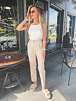 Женские прямые укороченные брюки в полоску, фото 1