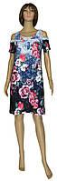 Платье женское летнее трикотажное с открытыми плечами 18014 Natali коттон Сине-голубое с розами