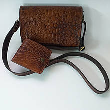 Шкіряна жіноча сумочка в комплекті з гаманцем