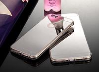 Cиликоновый зеркальный чехол для iphone 6/6s серебрянный, фото 1