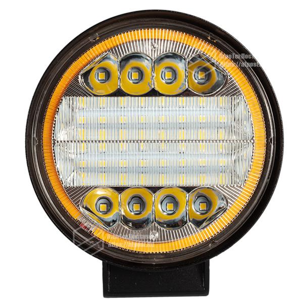 Фара LED круглая черная 72W, 42 ламп, широкий луч 10/30V 6000K толщина: 45 мм + LED кольцо