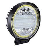 Фара LED круглая черная 72W, 42 ламп, широкий луч 10/30V 6000K толщина: 45 мм + LED кольцо, фото 2