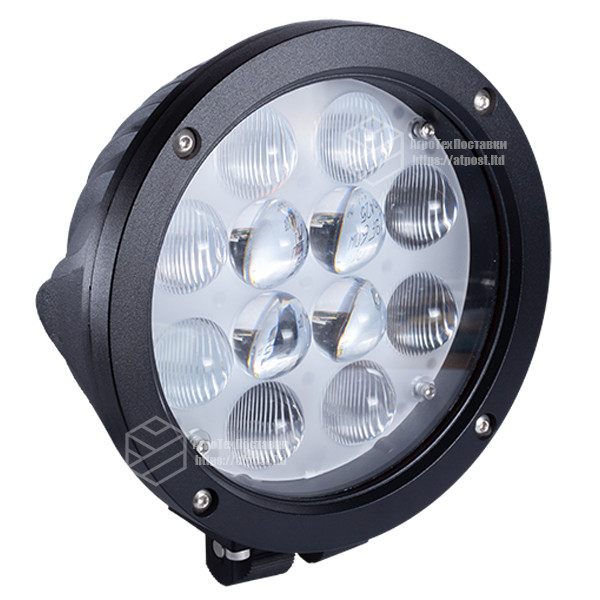 Фара LED круглая 60W (12 диодов х 5W) 3D линза black (для тяжелой техники)