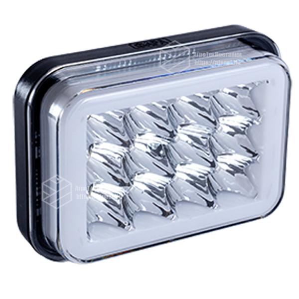 Фара LED прямокутна 18W (LED кільце + 2 кольори + strobe light)