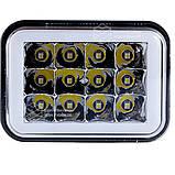 Фара LED прямокутна 18W (LED кільце + 2 кольори + strobe light), фото 2
