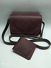 Жіноча шкіряна сумочка у комплекті з гаманцем