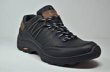 Мужские демисезонные кожаные кроссовки черные Step Wey 5234