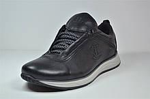 Чоловічі кросівки чорні з сірим шкіряні Level 55610