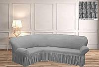 Покрывало Чехол на угловой диван   Светло - серый