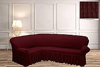Покрывало Чехол на угловой диван  Бордовый