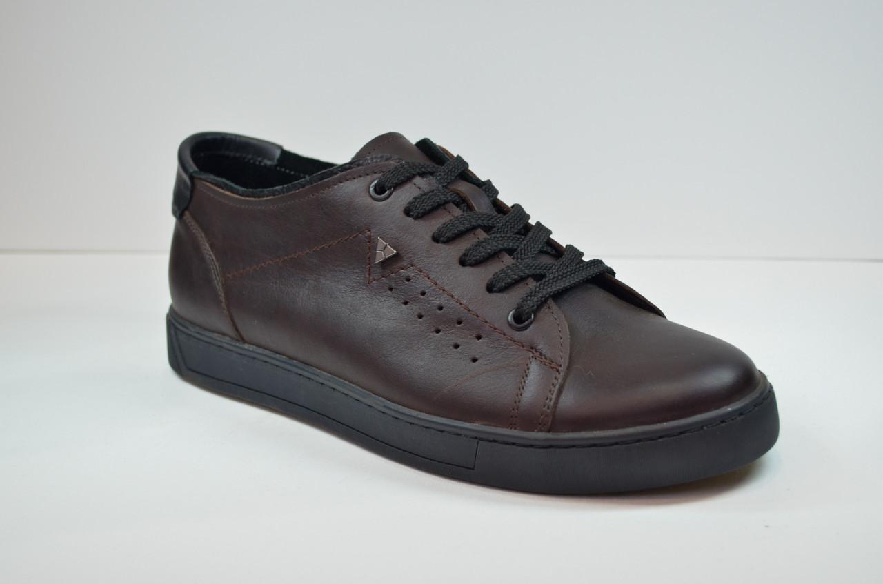 Мужские спортивные туфли кожаные кеды коричневые Lucky Choice 497.28.13