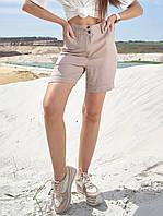 Коттоновые летние однотонные высокие женские шорты (1385.4170 svt) Кофе