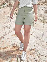 Коттоновые летние однотонные высокие женские шорты (1385.4170 svt) Оливковый