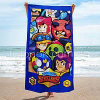 Пляжное полотенце Brawl Stars, большое махровое полотенце бравл старс 70*140см
