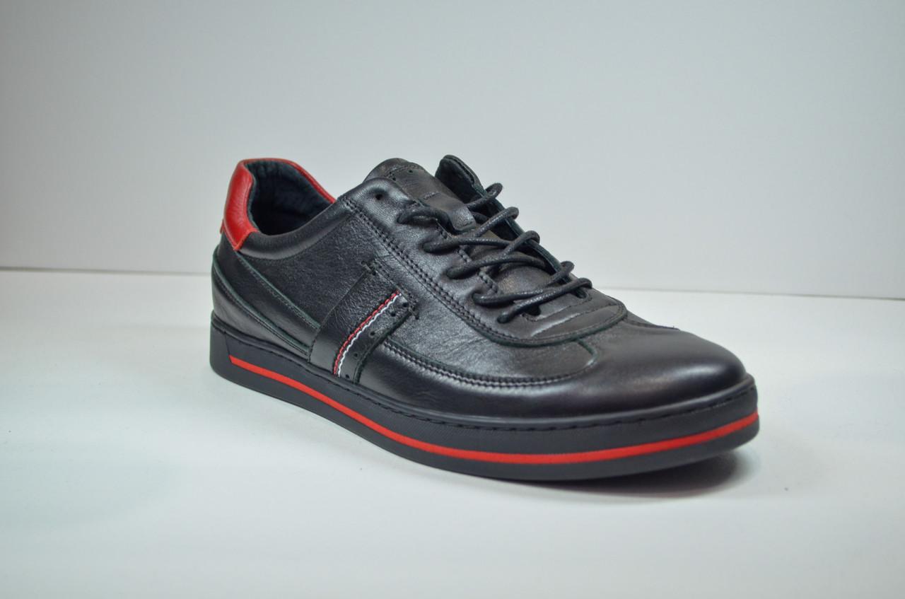 Мужские спортивные туфли кожаные кеды черные Safari 64101