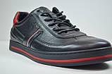 Мужские спортивные туфли кожаные кеды черные Safari 64101, фото 4