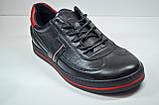 Мужские спортивные туфли кожаные кеды черные Safari 64101, фото 3