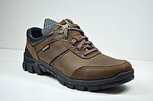 Мужские демисезонные кожаные кроссовки коричневые Shark 512