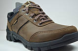 Чоловічі демісезонні шкіряні кросівки коричневі Shark 512, фото 3