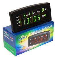 Настольные LED Caixing CX-868 часы с календарем, термометром и будильником