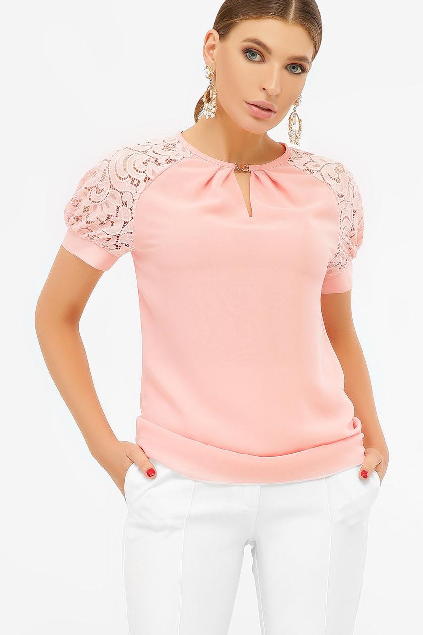 Блузка персиковая с короткими рукавами Ильва