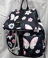 Рюкзак женский тканевый маленький черный в ярких розовых Бабочках Dolly 301 размер 25 х 32  х 20 см