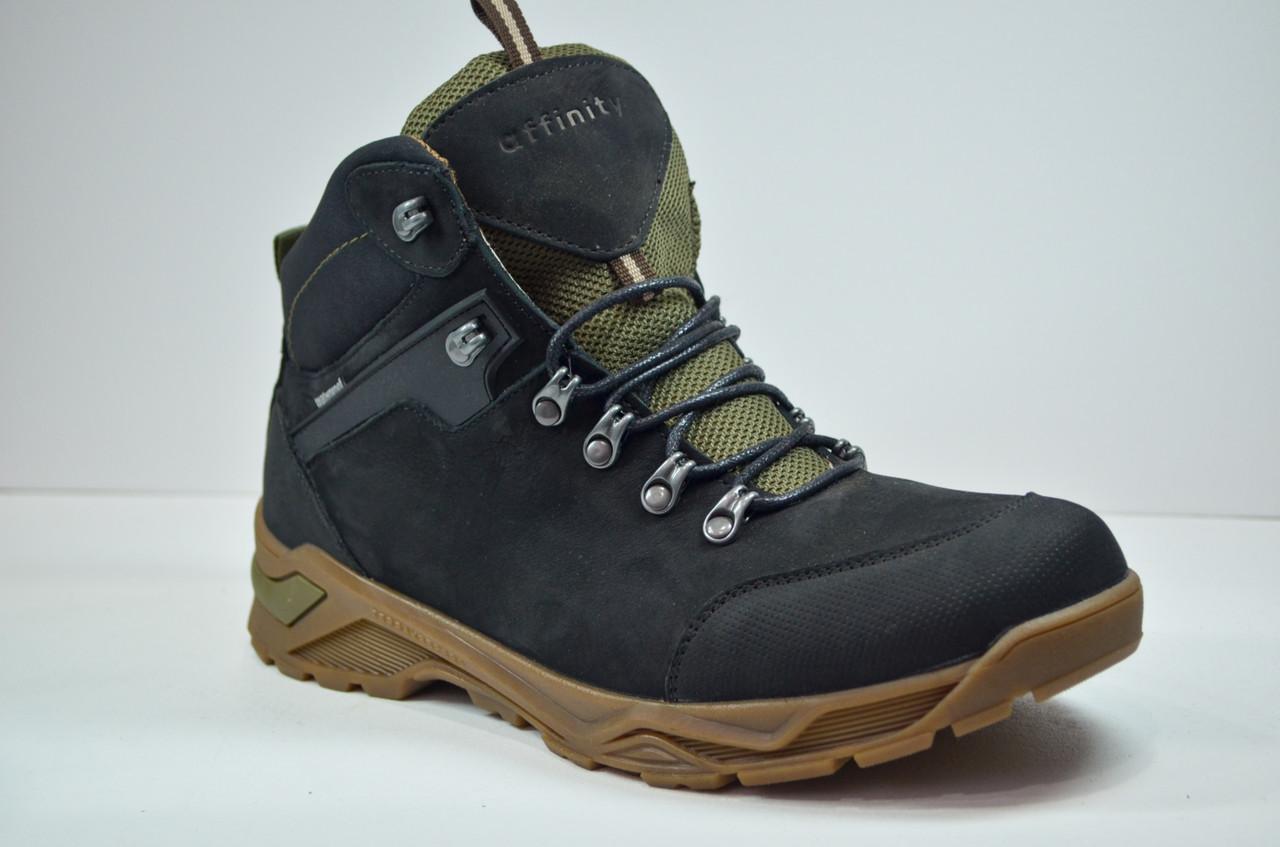 Мужские зимние нубуковые ботинки черные Affinity 2975 - 21