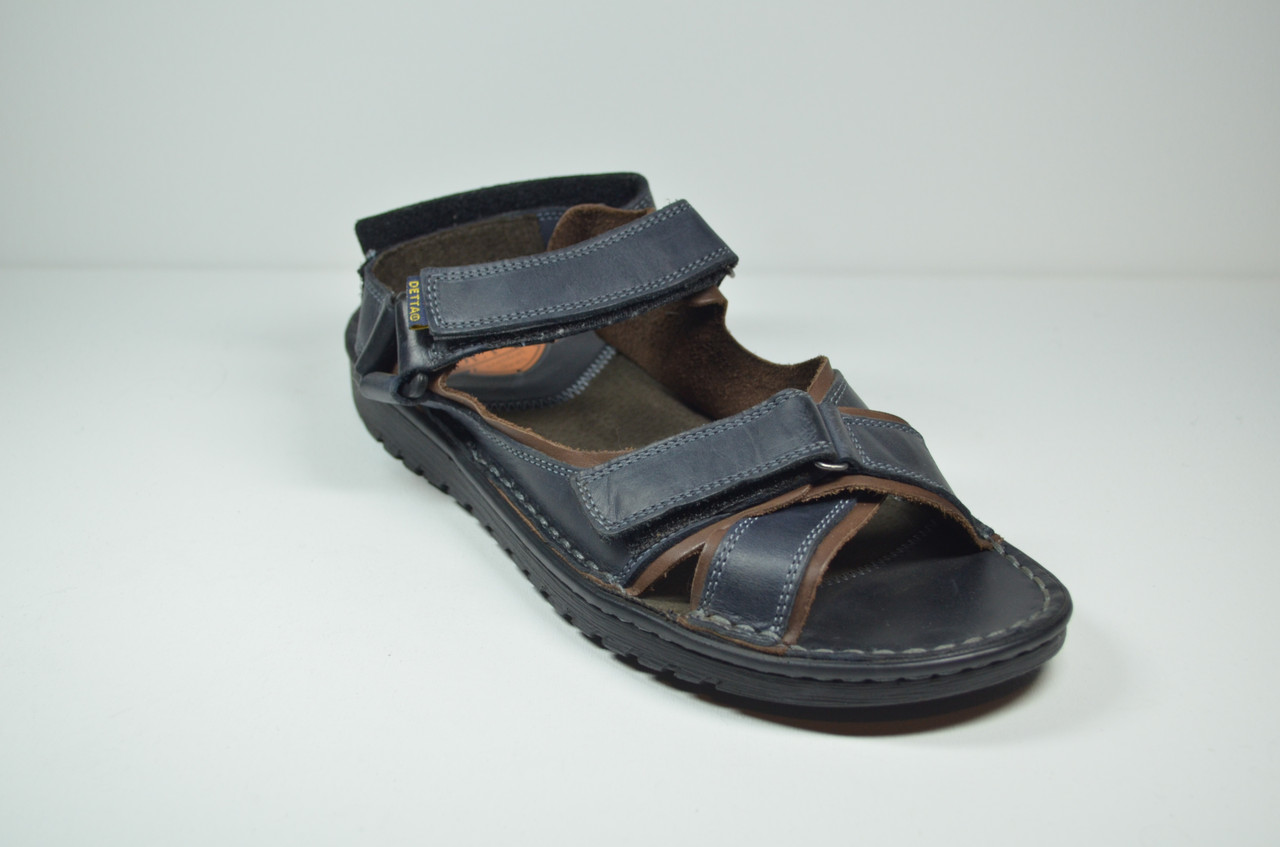 Чоловічі шкіряні сандалі сині Detta 67-4