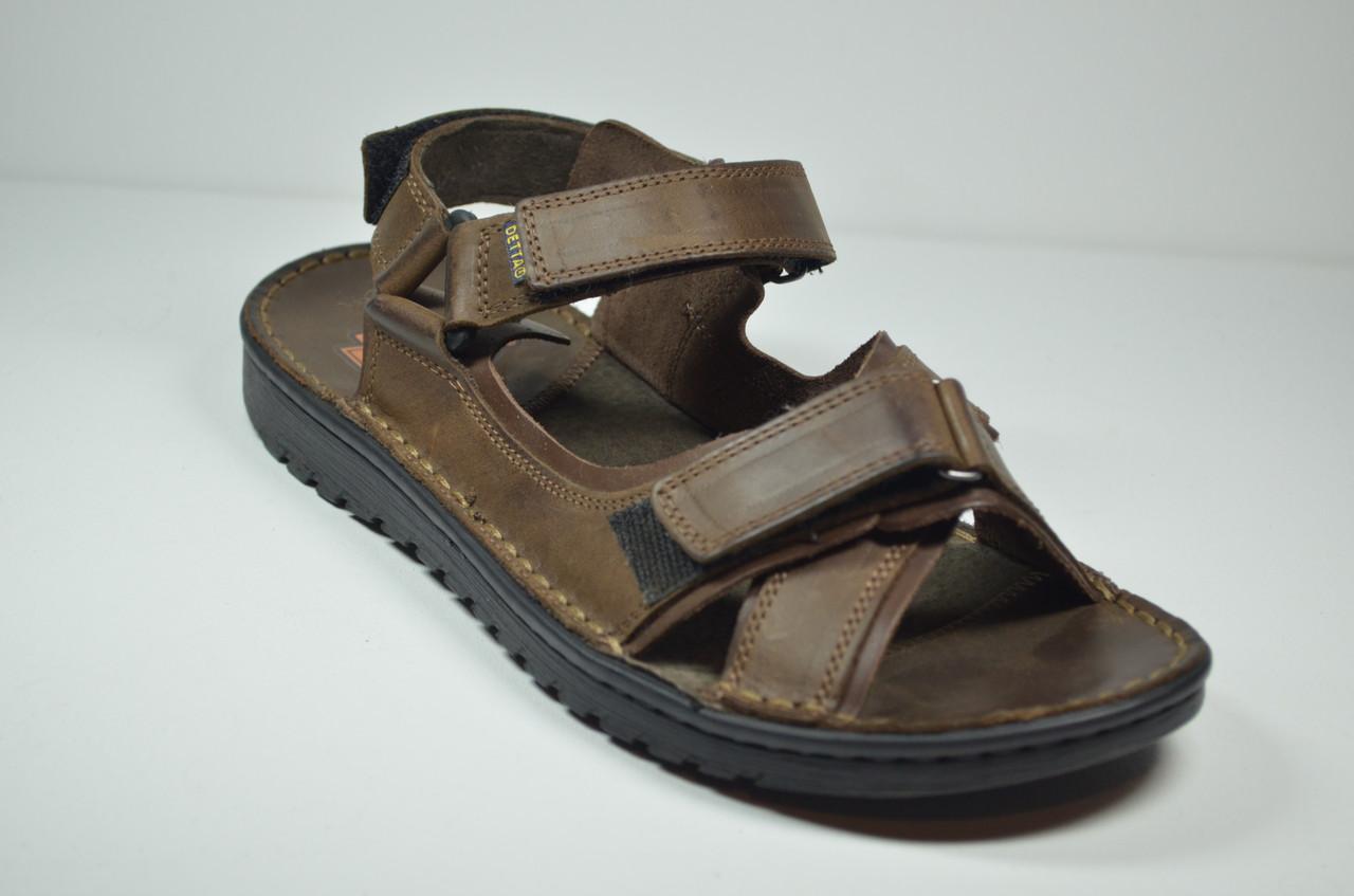 Чоловічі шкіряні сандалі коричневі Detta 67-1