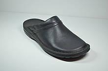 Мужские кожаные шлепанцы сабо черные Rafado 193-01