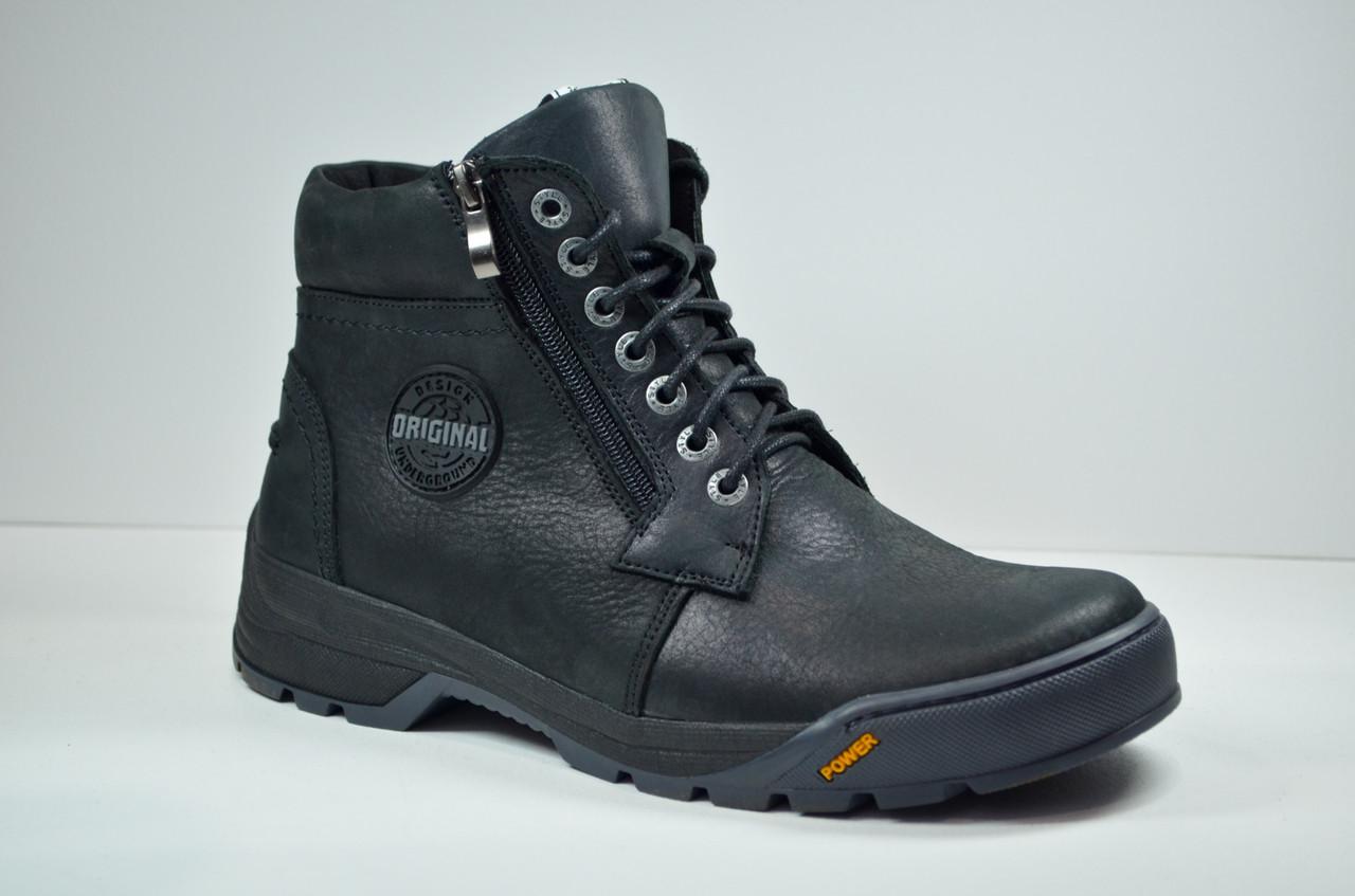 Чоловічі шкіряні черевики чорні зимові Botus 22