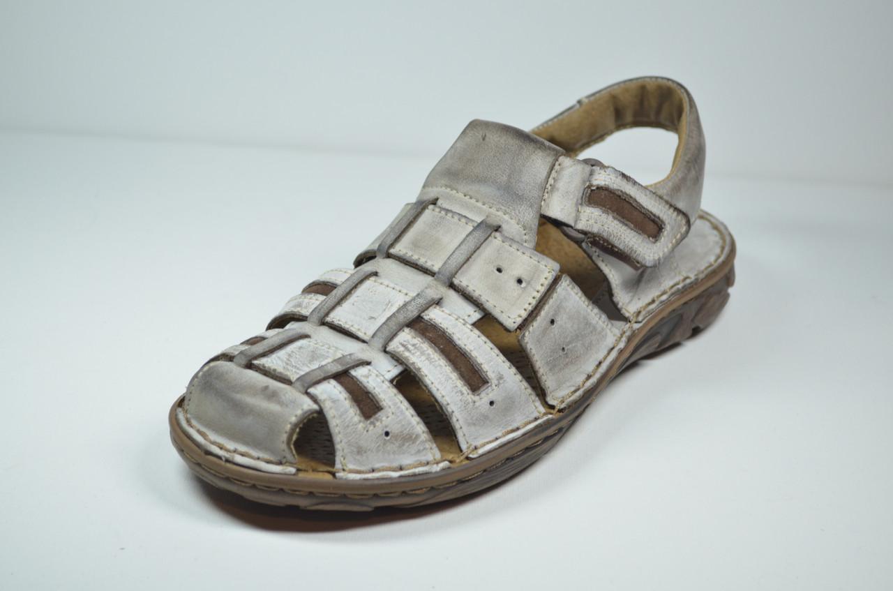 Чоловічі шкіряні сандалі сірі Mario 199-73