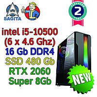 Игровой компьютер / ПК  ( intel i5 10500  (6 x 4.6GHz) \ B460 \ 16Gb \ 480 Gb \ RTX 2060 SUPER 8Gb \ 600W)
