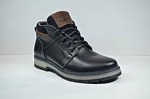 Мужские кожаные ботинки черные зимние Maxus Кэт 2