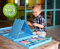 Набор для творчества детский фломастеры карандаши акварельные краски в чемодане 208 предметов голубой