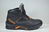 Чоловічі шкіряні кросівки чорні зимові Reebok Р. Р., фото 3