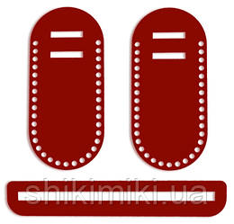 Боковинки для сумок, однотонні червоні, 22*10
