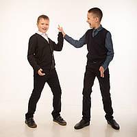 Пуловер (кофта) на пуговицах для мальчика р.122,128,134,140,146,152,158,164 SmileTime, черный ШКОЛА