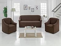 ВСЕ ЦВЕТА!  Комплект жаккардовых чехлов на диван и 2 кресла универсальный размер Турция, шоколадный
