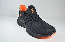 Женские и подростковые кроссовки черные с оранжевым в стиле Alphabounce Instinct (3165-7)