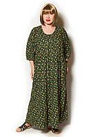 Платье в стиле бохо из штапеля. Размер oversize 54-64