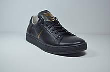 Подростковые и женские кожаные кеды черные в стиле Stan Smith 36 - 01