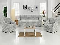 Комплект жаккардовых чехлов на диван и 2 кресла универсальный размер Турция, белый, светло-серый